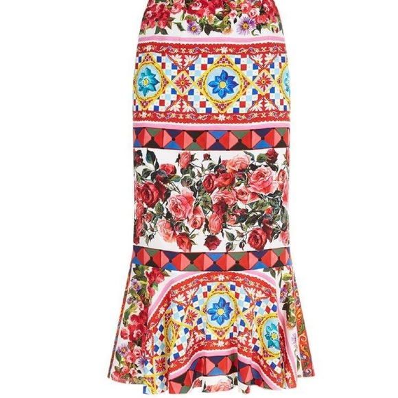 pretty and colorful available best sneakers New Dolce & Gabbana Mambo Print Peplum Skirt Boutique